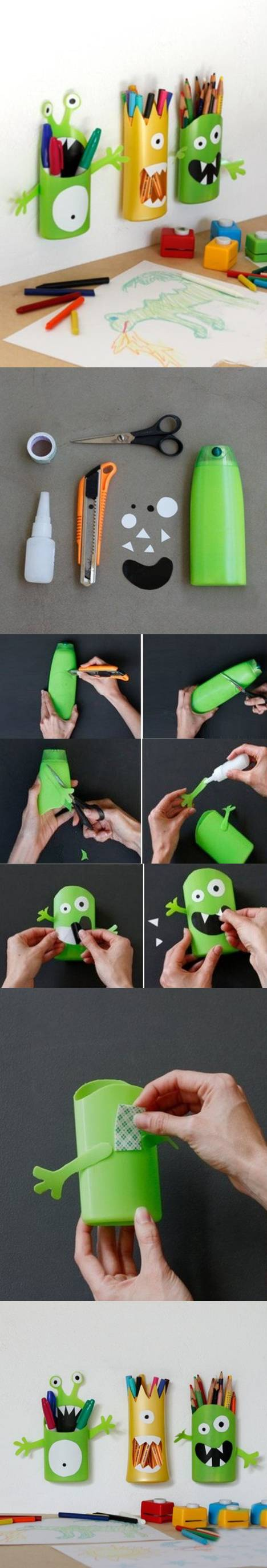 DIY-Shampoo-Bottle-Monster-Pencil-Holder (5)
